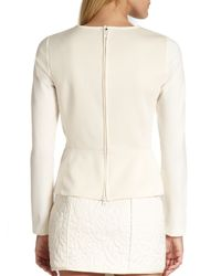 Tibi | Natural Quilted Floral Peplum Top | Lyst