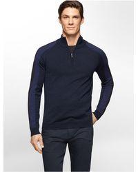 Calvin Klein - Blue White Label Merino Wool Colorblock 1/4 Zip Sweater for Men - Lyst