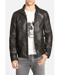 John Varvatos - Black Zip Front Leather Jacket for Men - Lyst