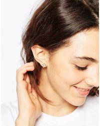 ASOS - Metallic Stud And Long Chain Mismatch Swing Earrings - Lyst