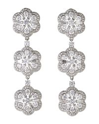 Nadri | Gray Silver-Tone Three-Tier Flower Drop Earrings | Lyst