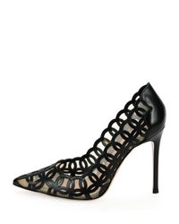 Gianvito Rossi - Black 105mm Laser-cut Vitello Leather Pump - Lyst