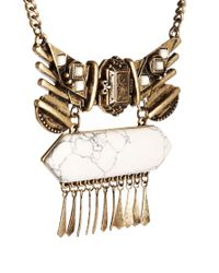 ASOS - Metallic Talisman Quartz Necklace with Semi Precious Stone - Lyst