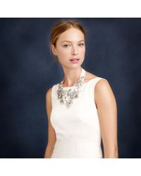 J.Crew | White Crystal And Flower Bib Necklace | Lyst
