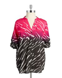 Calvin Klein | Pink Patterned Button-front Blouse | Lyst