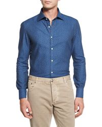 Isaia - Blue Mini Floral-print Chambray Sport Shirt for Men - Lyst