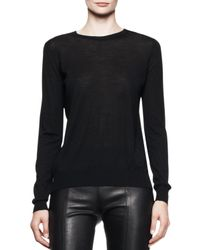 Proenza Schouler - Black Longsleeve Merino Crewneck Sweater - Lyst