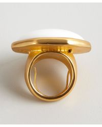 Kenneth Jay Lane | White And Gold Enamel Cocktail Ring | Lyst