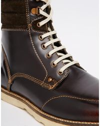 ASOS - Lace Up Boots In Brown Leather for Men - Lyst