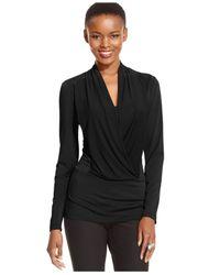 Eci | Black Long-sleeve Draped Top | Lyst