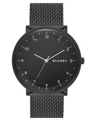 Skagen - Black 'hald' Mesh Strap Watch - Lyst