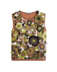 Alberta Ferretti - Green Embellished Top With Mohair - Multicolor - Lyst
