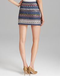 Nicole Miller Artelier | Blue Skirt Geometric Jewel Cross Dyed Mini | Lyst