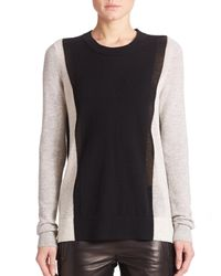 Vince | Black Cashmere Colorblock Sweater | Lyst