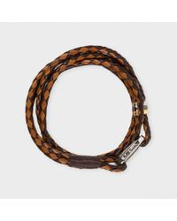 Paul Smith | Men's Light And Dark Brown Leather Wrap Bracelet for Men | Lyst