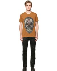 Just Cavalli | Brown Tribal Skull Printed Cotton T-shirt for Men | Lyst
