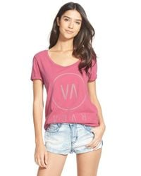 RVCA - Pink 'high End' Scoop Neck Tee - Lyst