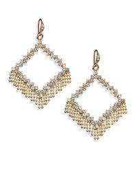 ABS By Allen Schwartz - Metallic Geometric Fringe Drop Earrings - Lyst