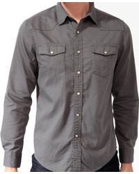 Forever 21 - Gray Jacquard Snap Button Shirt - Lyst