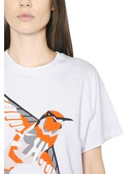 MSGM - White Hummingbird Printed Cotton T-Shirt for Men - Lyst