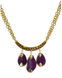 Kara Ross | Metallic Goldtone And Triple Amethyst Stone Necklace | Lyst