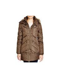 Sam Edelman Brown Faux Fur-trim Puffer Jacket