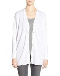Eileen Fisher | White Organic Cotton V-neck Cardigan | Lyst