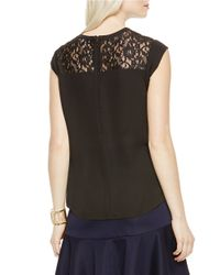 Vince Camuto - Black Lace-inset Top - Lyst