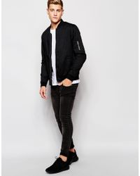 Jack & Jones - Black Bomber Jacket for Men - Lyst