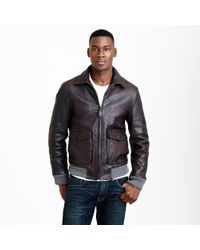 J.Crew - Brown Leather Flight Jacket for Men - Lyst