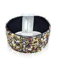 Lord & Taylor - Black Semi-Precious Multi-Stone Cuff Bracelet - Lyst