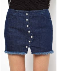 Back by Ann-Sofie Back - Blue Back By Ann-Sofie Back Heavy Denim Stud Skirt - Lyst