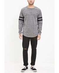 Forever 21 | Gray Striped-sleeve Heathered Top for Men | Lyst