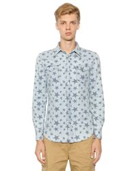 Hydrogen | Blue Avocado Star Printed Cotton Denim Shirt for Men | Lyst