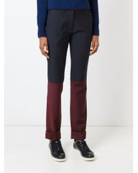 Unconditional - Blue Contrasting Panels Slim Fit Trousers - Lyst