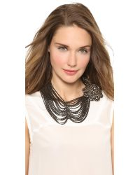 Vera Wang Collection | Gray Draped Flower Necklace Smoke | Lyst