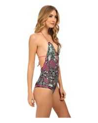 M Missoni - Green Floral Zig Zag One-Piece Swimsuit - Lyst