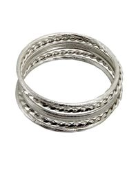 Chamak by Priya Kakkar | Metallic Set Of 5 Textured Silver Bangles | Lyst