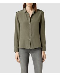 AllSaints - Brown Rivet Shirt - Lyst