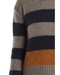 Giada Forte - Gray Striped Chunky Knit Sweater - Lyst
