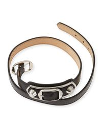 Balenciaga | Black Classic Leather Wrap Bracelet for Men | Lyst