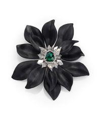 Alexis Bittar | Deco Lucite & Crystal Flower Pin/Black | Lyst