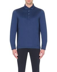 Corneliani | Blue Silk-blend Polo Shirt for Men | Lyst