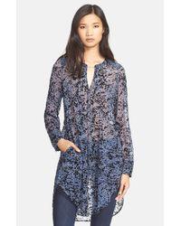 Tracy Reese - Blue Pintuck Print Silk Tunic - Lyst