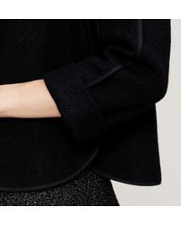 LOFT - Black Petite Tipped Wooly Jacket - Lyst