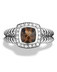 David Yurman | Metallic Petite Albion Ring With Smoky Quartz & Diamonds | Lyst