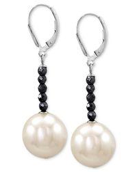 Majorica - Metallic Sterling Silver Man-made Pearl (14mm) And Hematite Bead Drop Earrings - Lyst