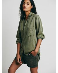 Free People | Green Cp Shades Silk Shirt | Lyst