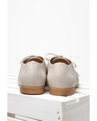 Forever 21 | Gray Faux Leather Chevron-cutout Oxfords | Lyst