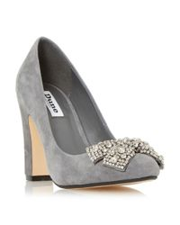 Dune - Gray Bambi Bejewelled Bow Detail Court Shoes - Lyst